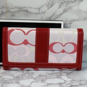 NWOT Signature Coach Red White Leather Wallet